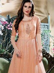 Peach Fancy Fabric Resham Work Readymade Gown