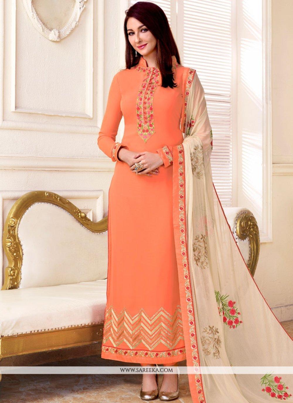 Peach Faux Georgette Designer Straight Suit