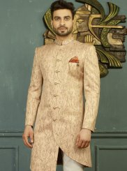 Peach Jacquard Party Indo Western