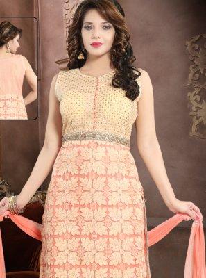 Peach Net Handwork Salwar Suit