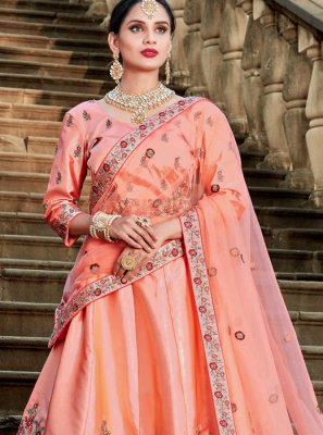 Peach Patch Border Satin Lehenga Choli