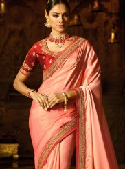 Peach Patch Border Work Fancy Fabric Classic Saree
