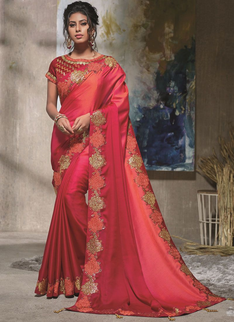 Peach, Pink and Red Resham Satin Silk Shaded Saree