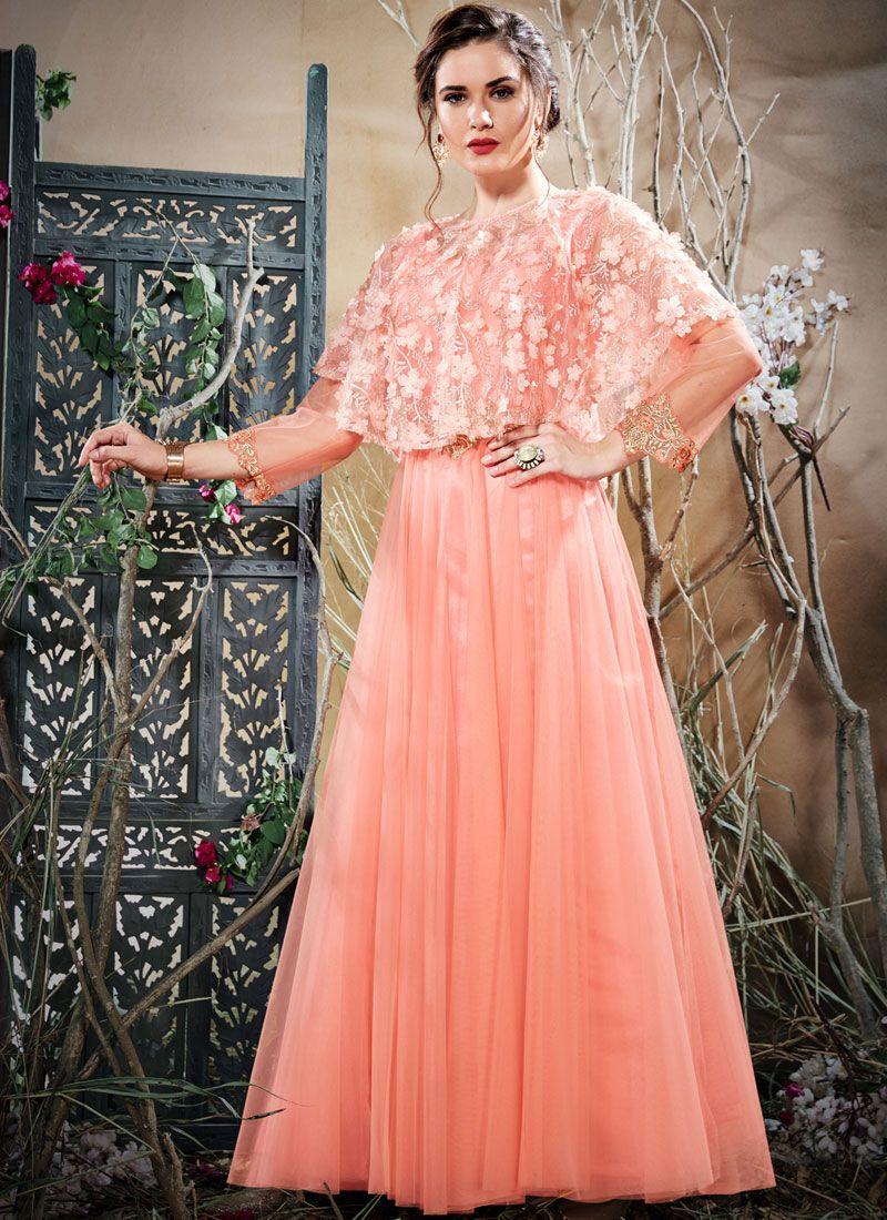 Peach Readymade Gown