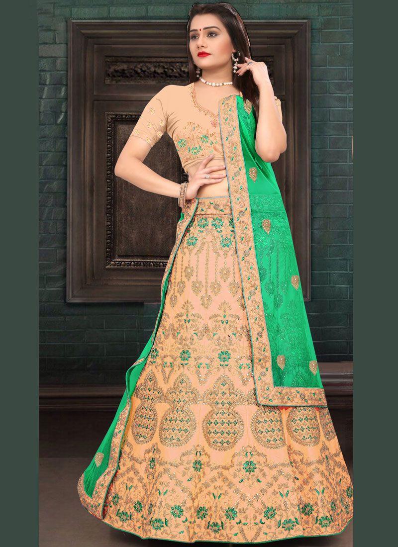 b609a185f3 Peach Resham Work Art Silk Trendy Lehenga Choli buy online -