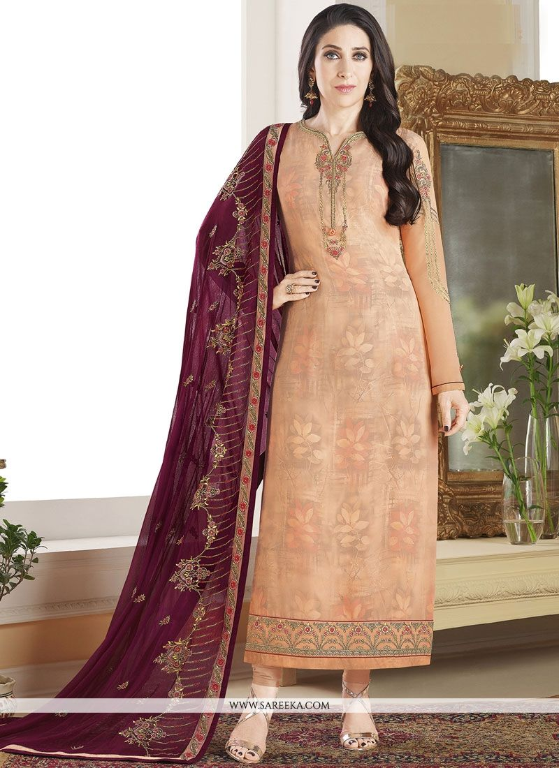 Peach Resham Work Faux Georgette Designer Straight Suit