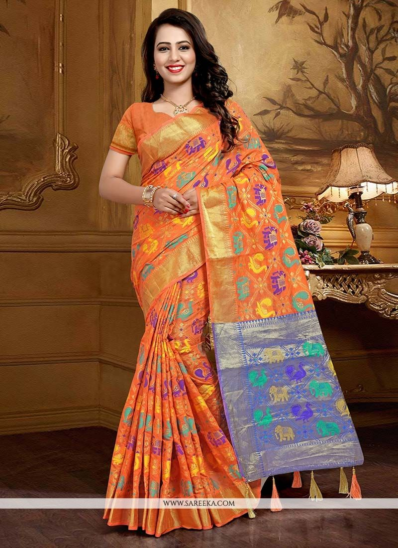 Peach Traditional Designer Saree