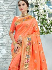 Peach Uppada Silk Printed Classic Saree