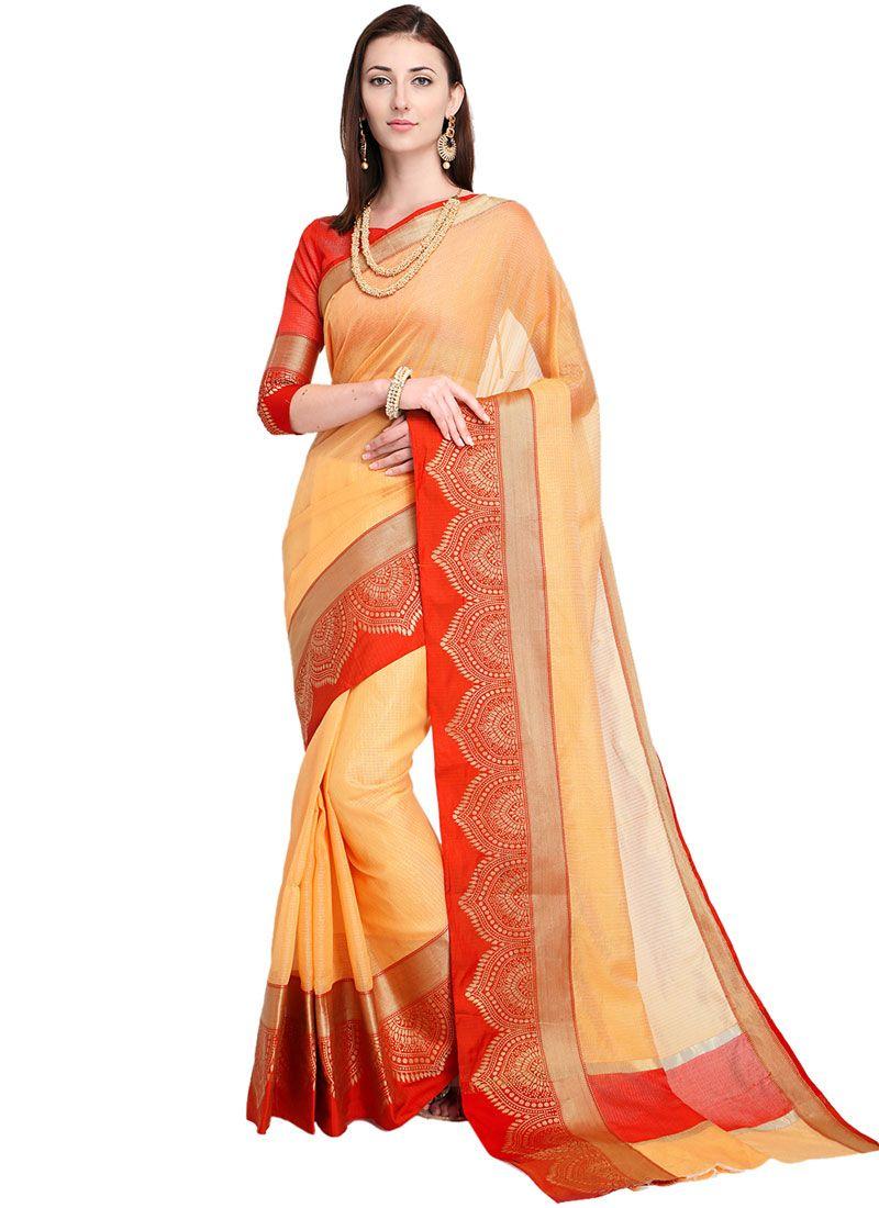 ee7e60930b68da Buy Peach Woven Art Silk Casual Saree Online -