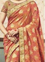 Peach Zari Work Art Silk Designer Traditional Saree