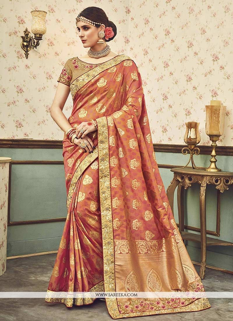 Peach Zari Work Art Silk Designer Traditional Saree