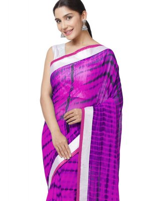Pink and Purple Print Work Faux Georgette Casual Saree