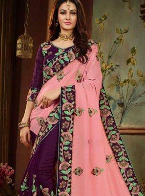 Pink and Purple Resham Art Silk Designer Half N Half Saree