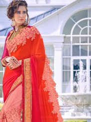 Pink and Red Resham Faux Georgette Half N Half  Saree