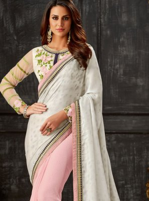 Pink and White Embroidered Designer Half N Half Saree