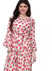 Pink and White Rayon Party Wear Kurti