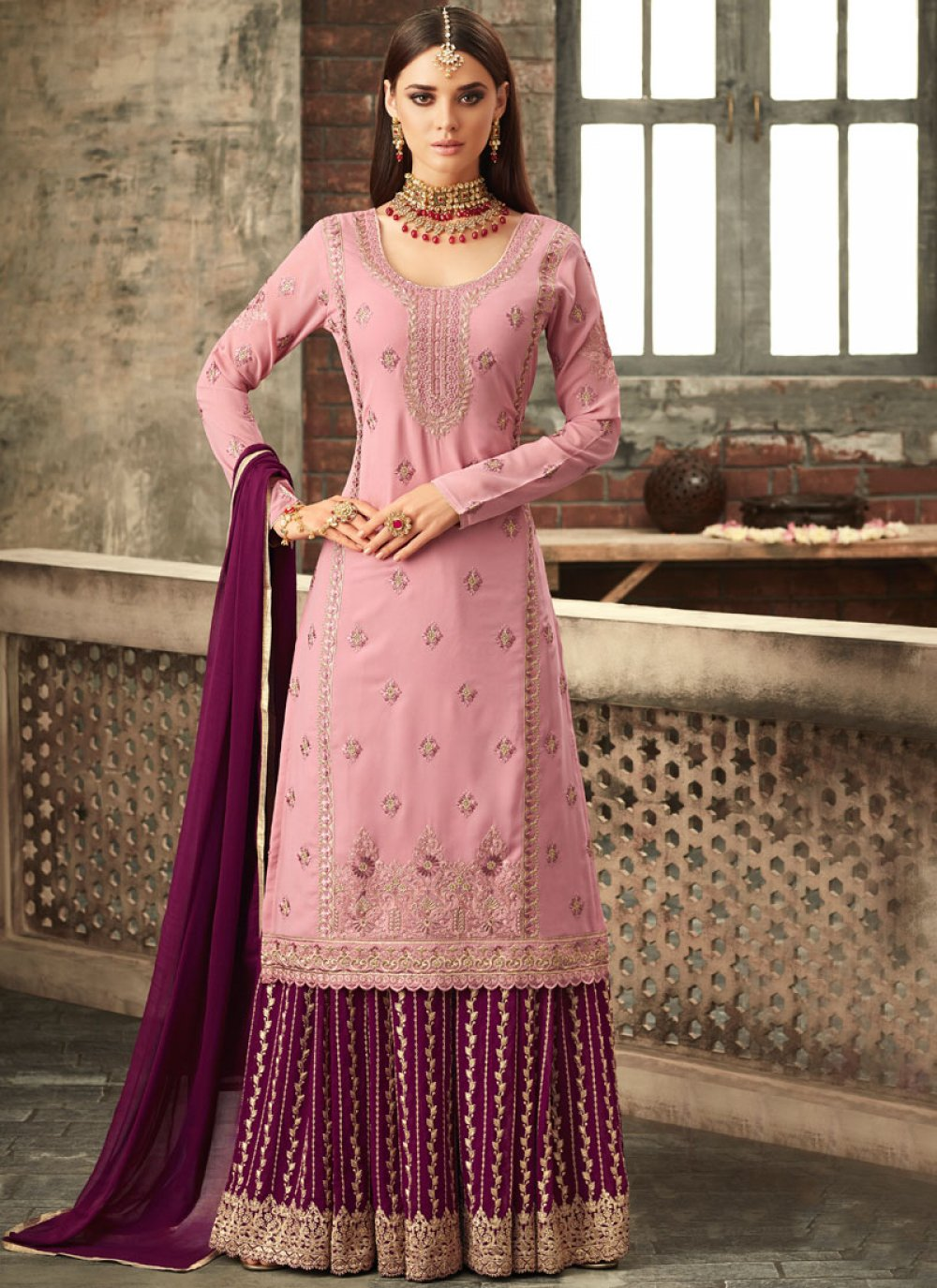Pink and Wine Reception Designer Palazzo Suit