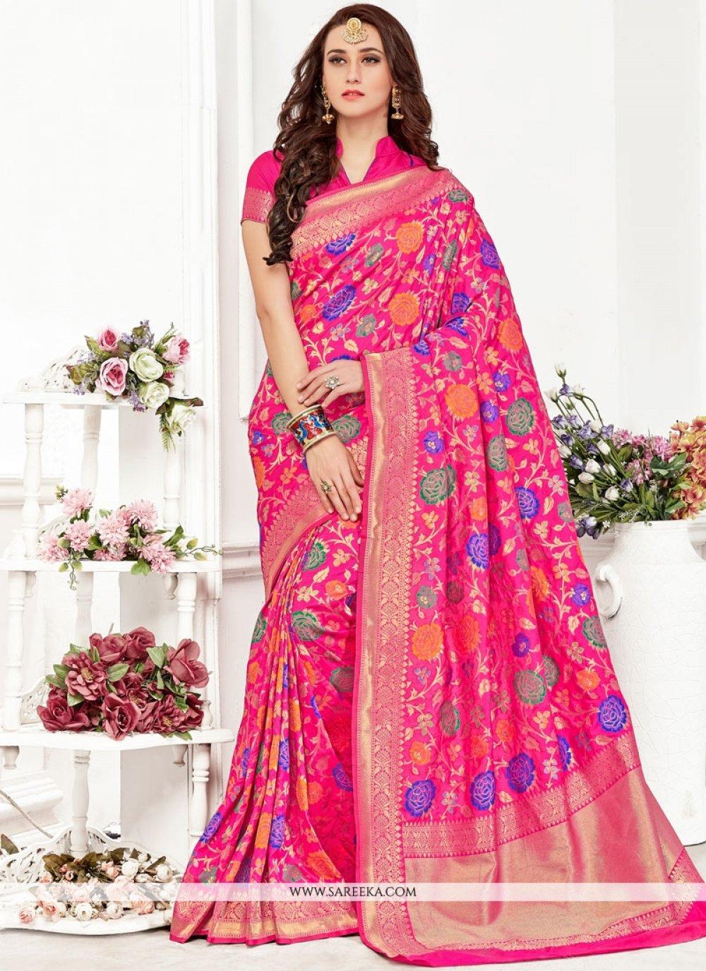 Pink Art Silk Designer Traditional Saree