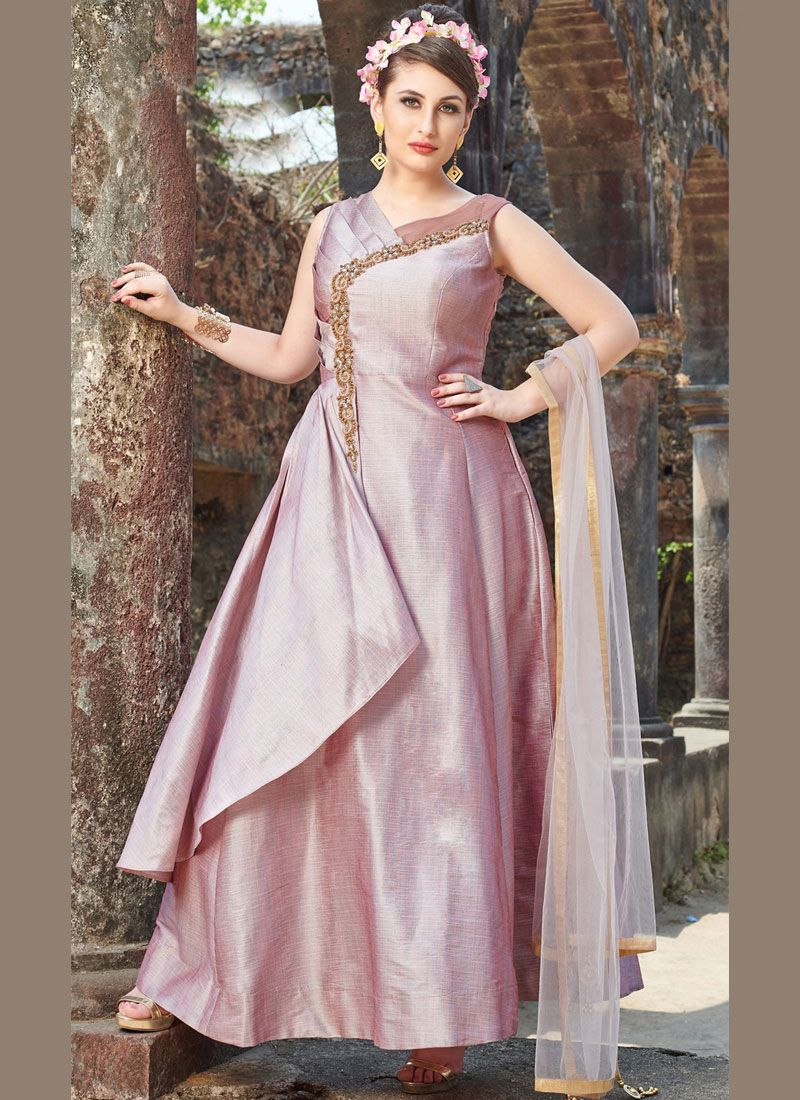 Pink Chanderi Readymade Anarkali Suit