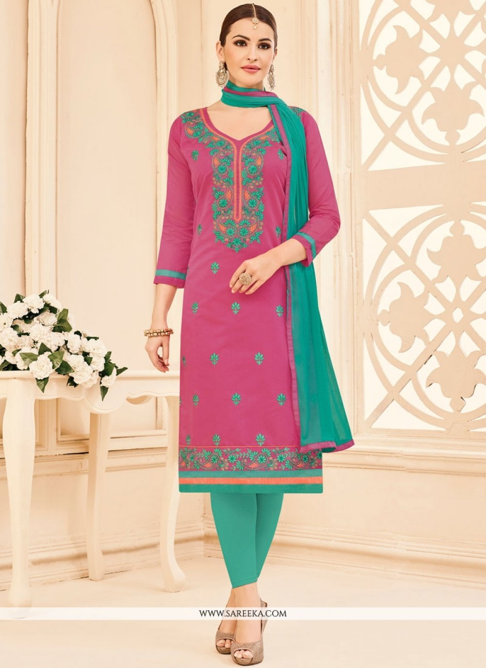 Pink Churidar Suit