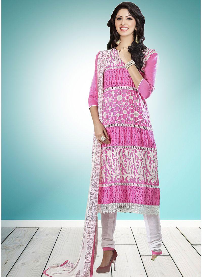 Pink Cotton   Designer Straight Suit