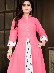 Pink Cotton   Party Wear Kurti