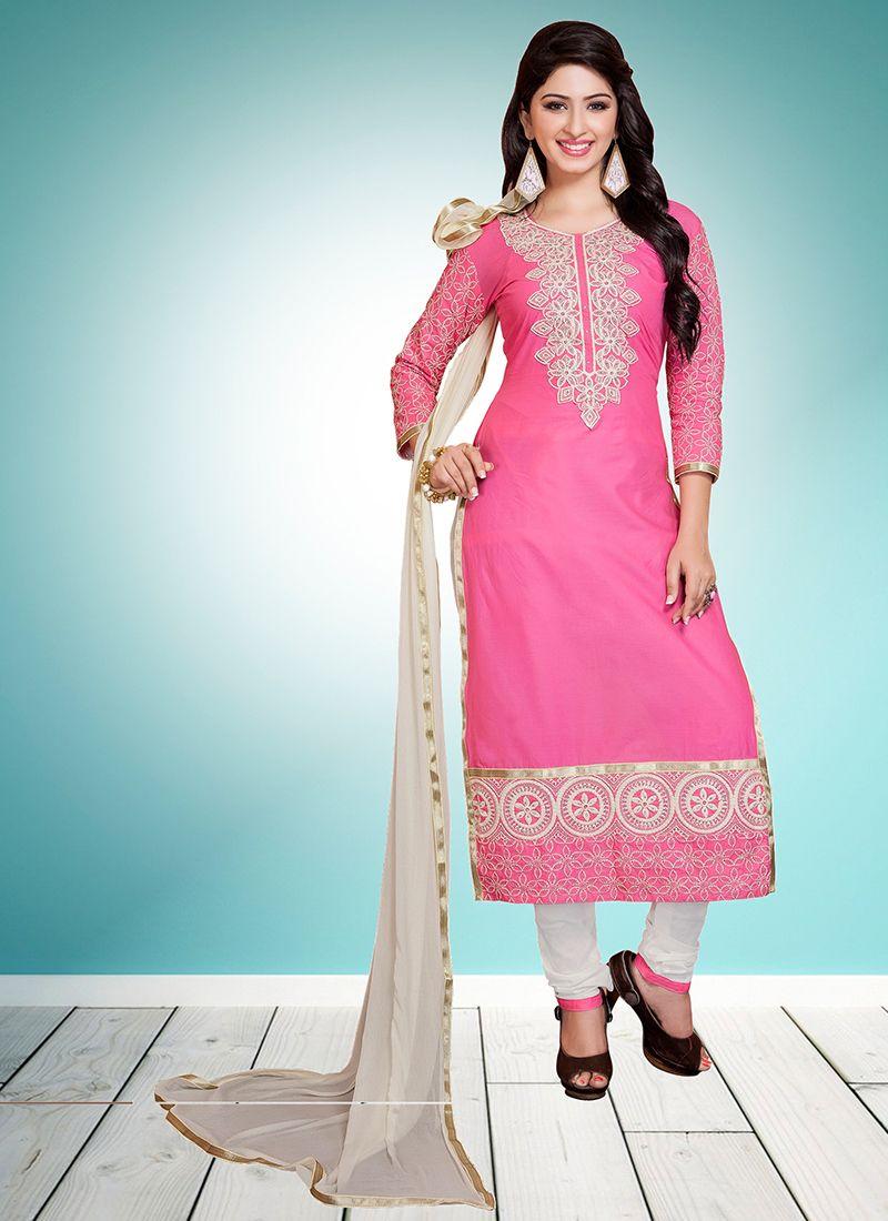 Pink Designer Straight Suit