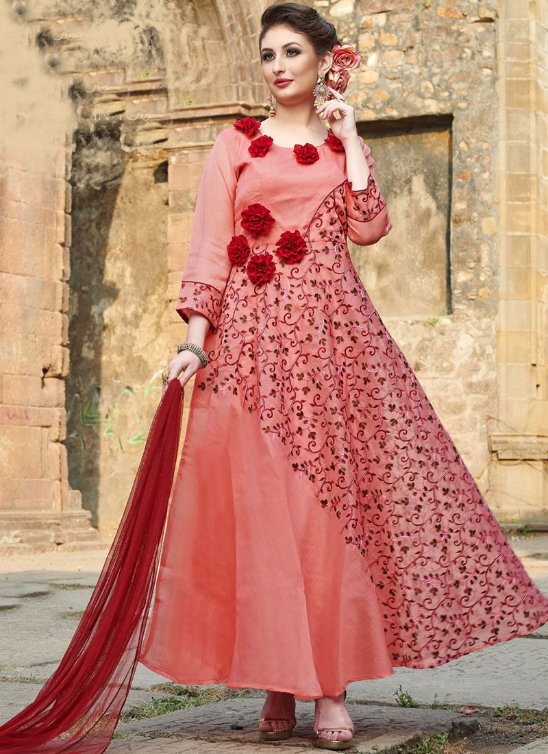 Pink Embroidered Art Silk Readymade Anarkali Suit