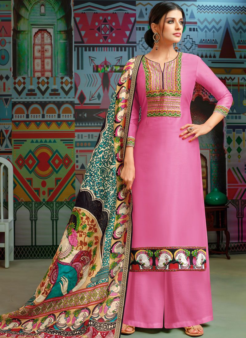 Pink Embroidered Chanderi Cotton Designer Palazzo Suit