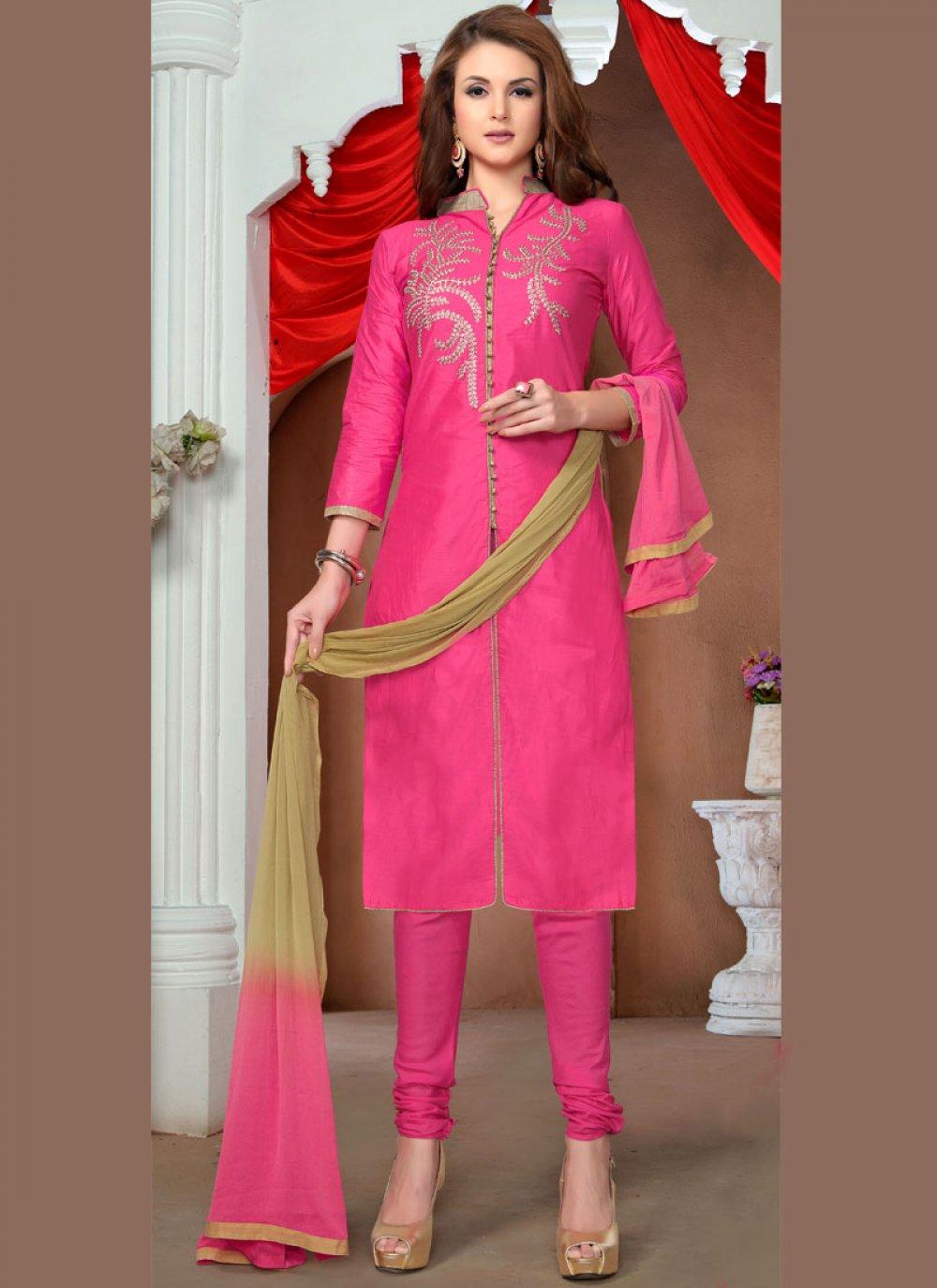 Pink Embroidered Churidar Salwar Kameez