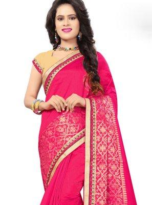 Pink Embroidered Jacquard Silk Traditional Saree