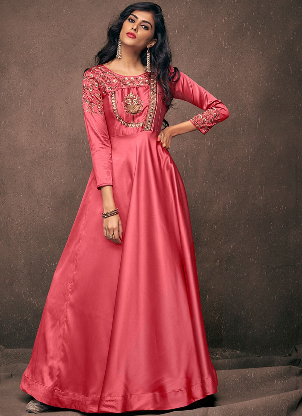 Pink Embroidered Readymade Gown