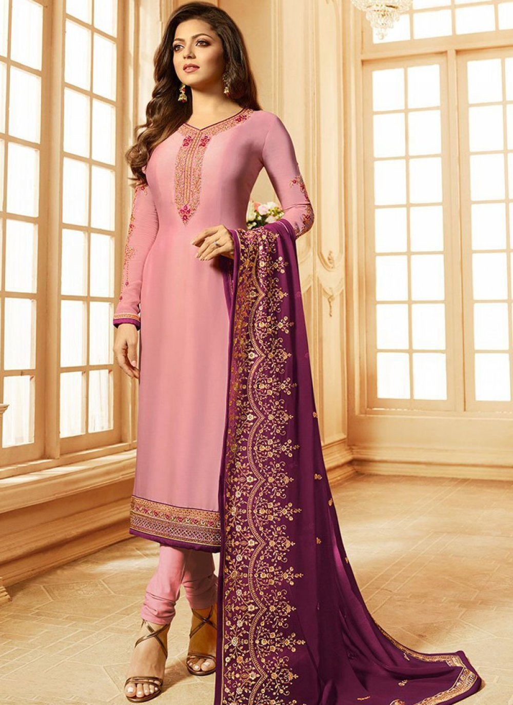 Pink Embroidered Satin Churidar Suit