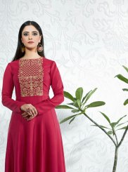 Pink Embroidered Satin Party Wear Kurti
