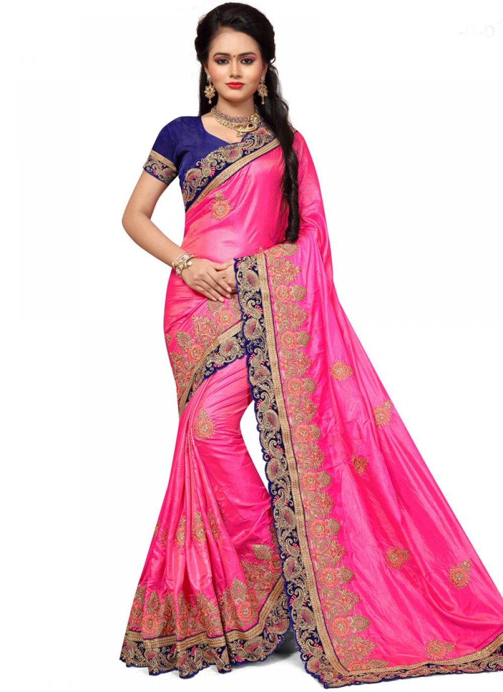 Pink Embroidered Work Art Silk Designer Traditional Saree