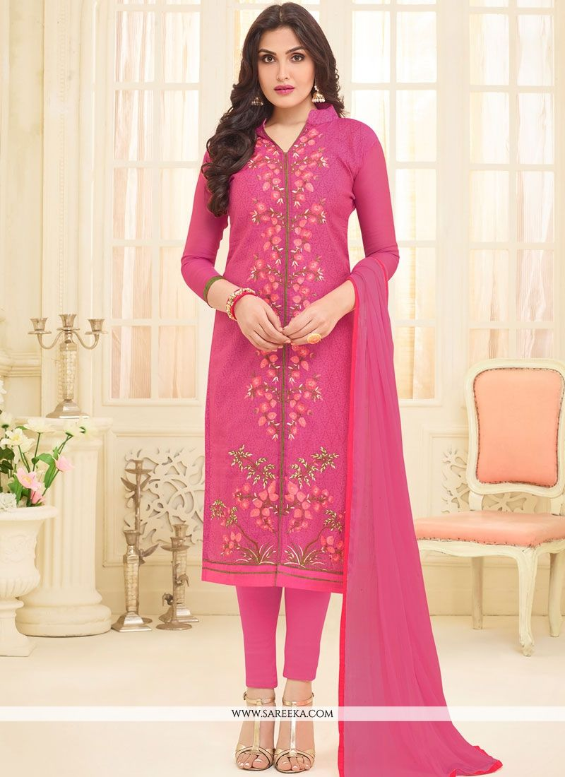 Pink Embroidered Work Chanderi Churidar Suit