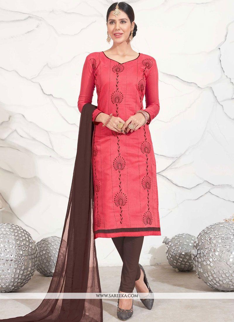 Pink Embroidered Work Chanderi Cotton Churidar Suit