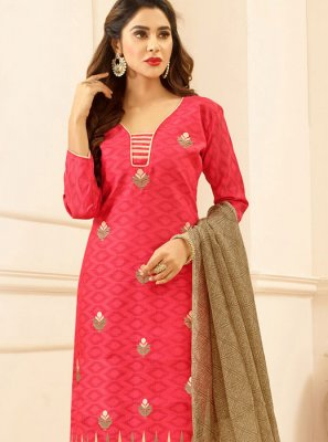 Pink Embroidered Work Cotton   Churidar Suit