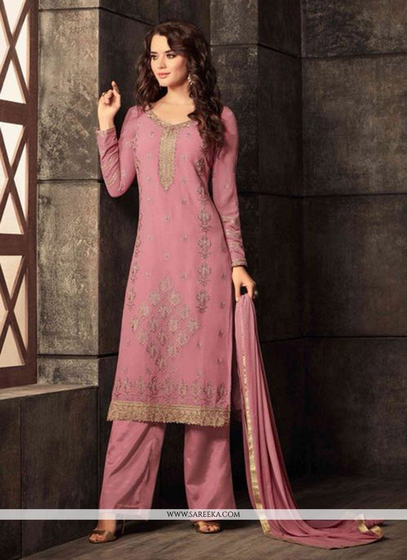 Pink Embroidered Work Georgette Salwar Kameez