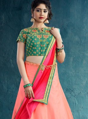Pink Embroidered Work Silk Designer Lehenga Choli