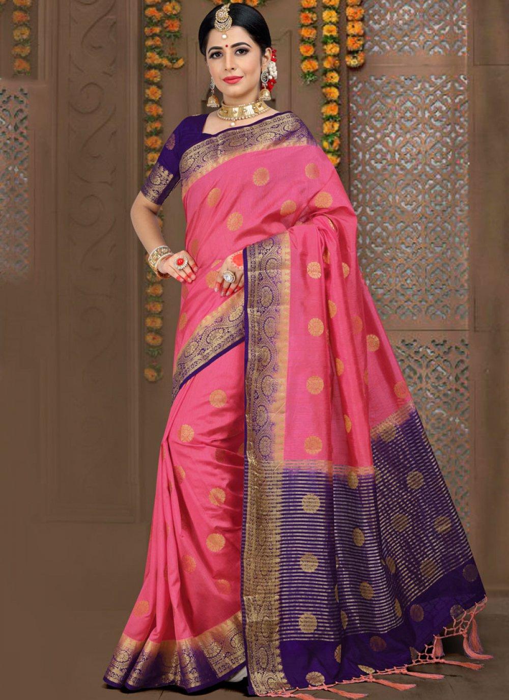 Pink Fancy Fabric Wedding Traditional Saree
