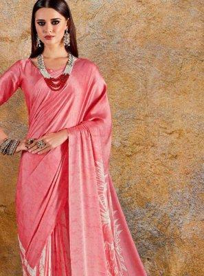 Pink Faux Crepe Printed Saree