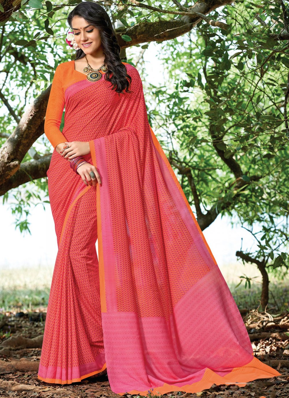 Pink Faux Georgette Casual Saree