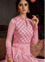 Pink Faux Georgette Floor Length Anarkali Suit