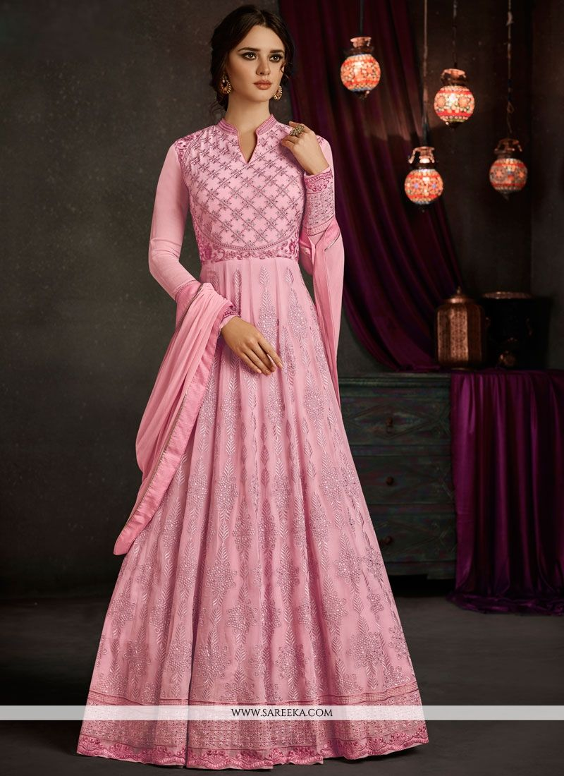 Pink Faux Georgette Floor Length Anarkali Suit