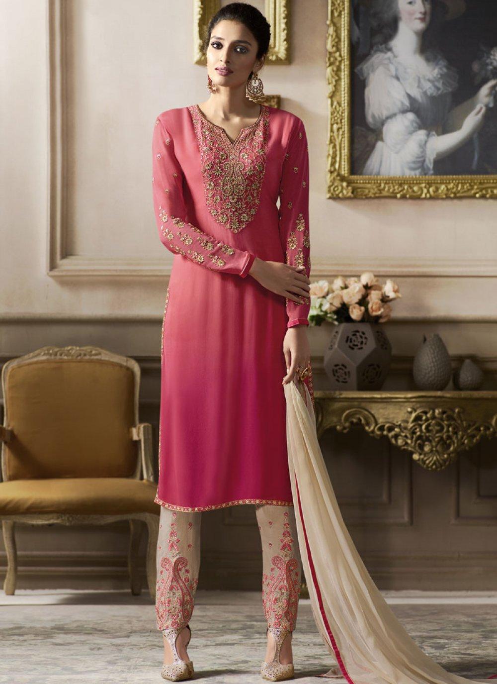 Pink Festival Faux Georgette Pant Style Suit