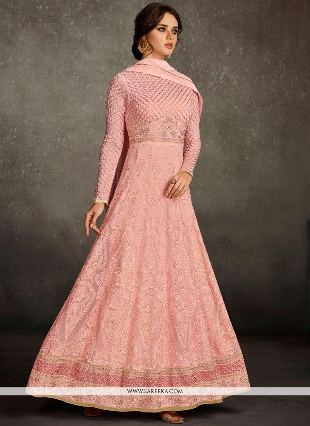 Pink Floor Length Anarkali Suit