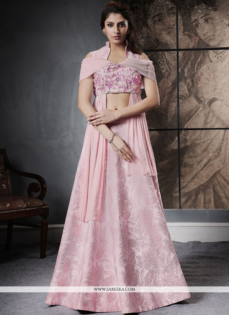 Pink Jacquard Silk Lehenga Choli