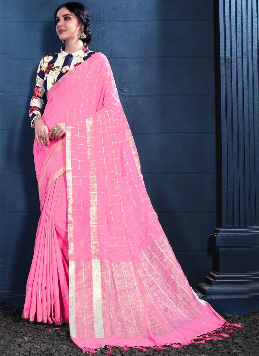 Pink Linen Casual Trendy Saree