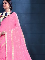 Pink Linen Casual Trendy Saree